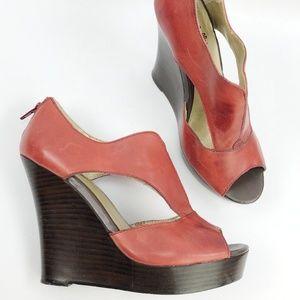 Seychelle Anthro Red Leather Platform Wedge Sandal